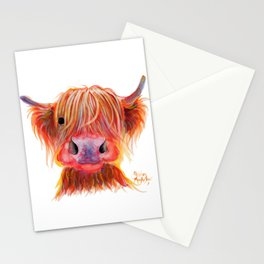 Scottish Highland Cow ' CHILLI CHOPS ' by Shirley MacArthur Stationery Cards