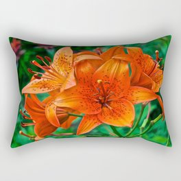 Orange Tiger Lilies - The Peace Collection Rectangular Pillow