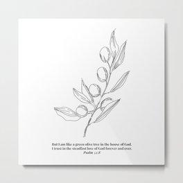 Psalm 52:8 Olive Branch Line Art Sketch Metal Print