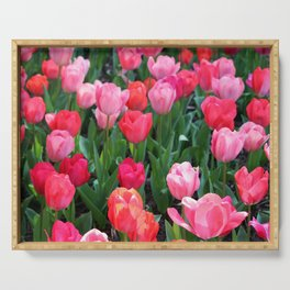 Shades Of Pink Tulips Serving Tray