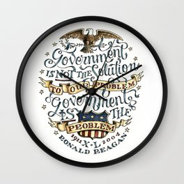 small government, larger freedom Wall Clock