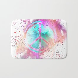 Colorful Painted Peace Symbol Bath Mat