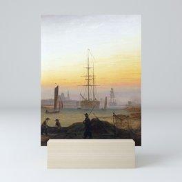 Caspar David Friedrich Ships in the Harbor of Greifswald Mini Art Print