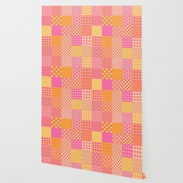 25 Designs Patchwork Tiles in Orange Pink and Yellow Wallpaper