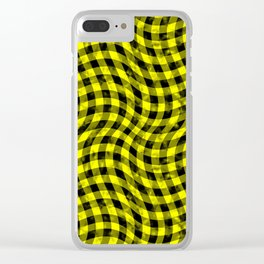 Wiggly Yellow and Black Speckle Check Pattern Clear iPhone Case