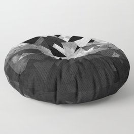 Abstract Black Geometric Floor Pillow