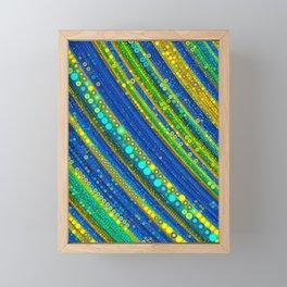 gia - bright stripe abstract design vivid emerald green royal blue gold Framed Mini Art Print