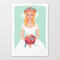 bride Canvas Prints featuring bride by Melissa Ballesteros Parada