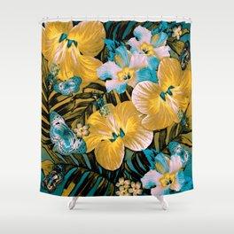 Golden Vintage Aloha Shower Curtain