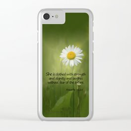 She is Clothed With Strength Clear iPhone Case