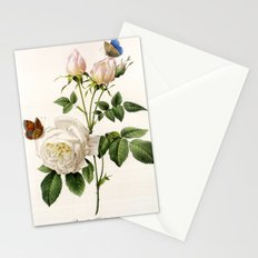 Vintage botanical illustration by P.J. Redoute. White rose flowers and butterflies. Stationery Cards