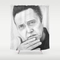 christopher walken Shower Curtains featuring Christopher Walken Portrait by Olechka