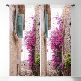 French alley full of flowers   European architecture houses, light bricks and blue shutters   Travel photography in France, South Europe Blackout Curtain