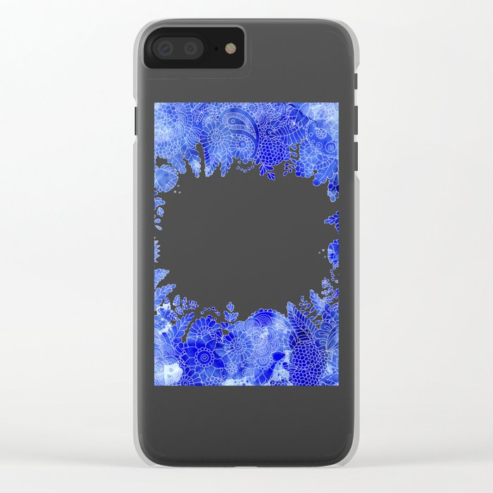 Blue Floral Pattern 04 Clear iPhone Case