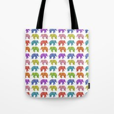 Colorful Parade of Elephants in Red, Orange, Yellow, Green, Blue, Purple and Pink Tote Bag