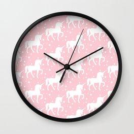 Pink Unicorn and Stars Pattern Wall Clock
