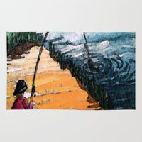 fishing Area & Throw Rugs featuring FISHING by aztosaha