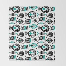 Deep Sea White Throw Blanket