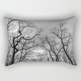 Black and white naked trees silhouette Rectangular Pillow