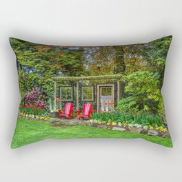 Resting place for two in a city park  Rectangular Pillow