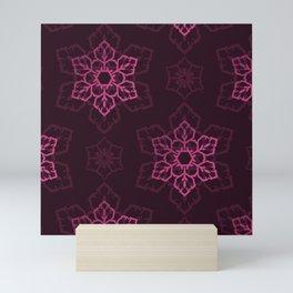 Festive Pink Snowflake Pattern Mini Art Print