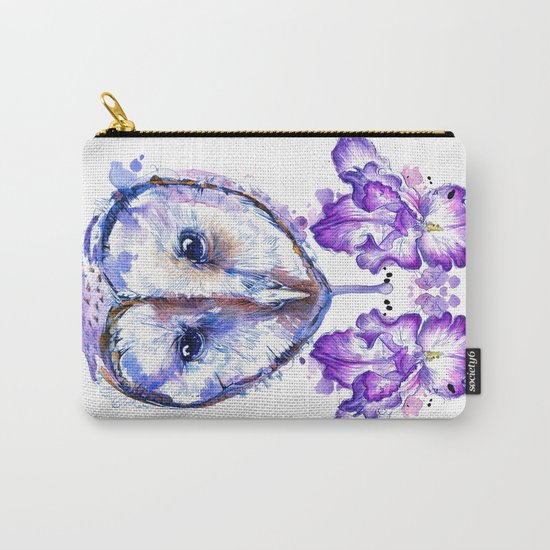 Owl and Irises Carry-All Pouch