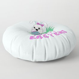 Happy Easter with cute bunny kepping ornamental egg Floor Pillow