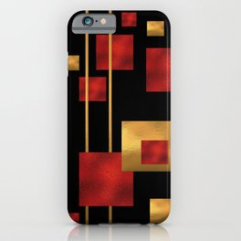 Red and Gold Foil Blocks iPhone Case