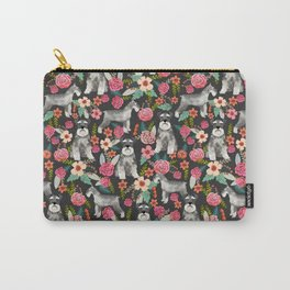 Schnauzer floral must have dog breed gifts for schnauzers owners florals Carry-All Pouch