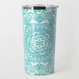 Sea Green Ombre, Indian Mandala Pattern Travel Mug