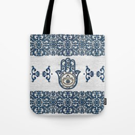 Hamsa Hand Hand of Fatima blue wood Tote Bag