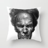 clint eastwood Throw Pillows featuring Clint Eastwood by Thomas Bryant
