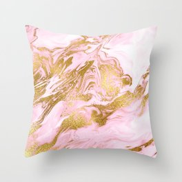 Rose Gold Mermaid Marble Throw Pillow