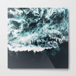 Oceanholic, Sea Waves Dark Photography, Nature Ocean Landscape Travel Eclectic Graphic Design Metal Print