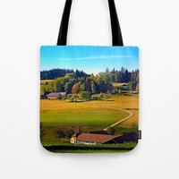farm Tote Bags featuring From farm to farm by Patrick Jobst