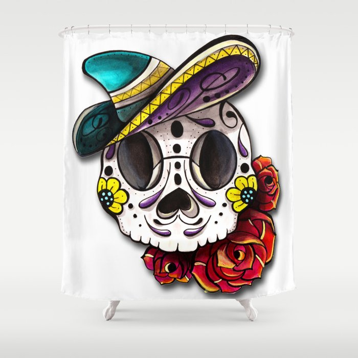Sugar Skull Shower Curtain by bubbletoes