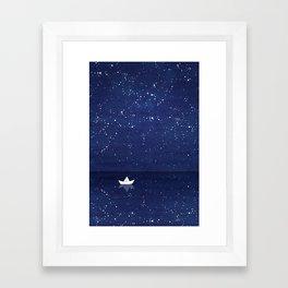 Zen sailing, ocean, stars Framed Art Print