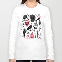 doodle Long Sleeve T-shirts featuring Whole Lotta Horror by Josh Ln