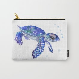 Cute Blue Baby Sea Turtle. children illustration, turtle art Carry-All Pouch
