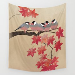 Java Sparrows in Japanese Maple Tree Wall Tapestry