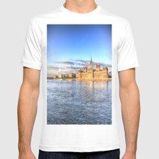 Budapest River Danube Sunset Mens Fitted Tee MEDIUM White