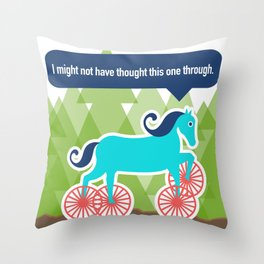 Georgina, the Horse with Wheels, Didn't Think This One Through Throw Pillow