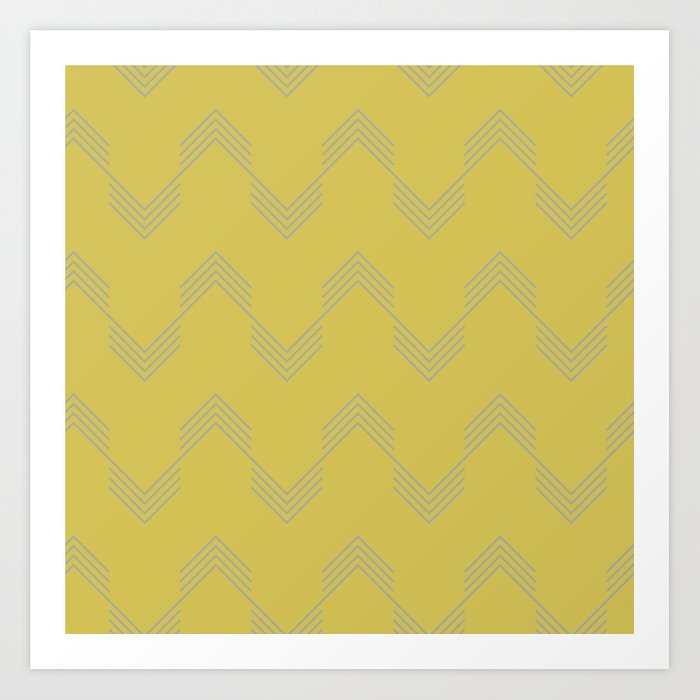 Simply Deconstructed Chevron Retro Gray on Mod Yellow Art Print