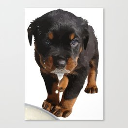 Cute Rottweiler Puppy Lapping Milk Vector Canvas Print