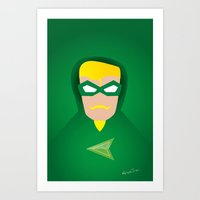 green arrow Art Prints featuring GREEN ARROW by Roboz