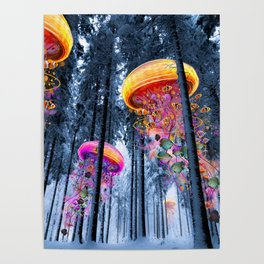 Winter Forest of Electric Jellyfish Worlds Poster