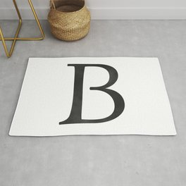 Letter B Initial Monogram Black and White Rug