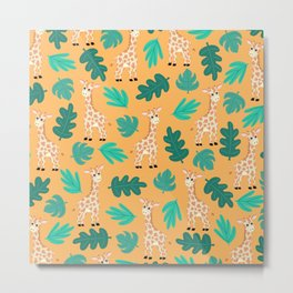 Wild Cute Green Orange Giraffe Leaves Pattern Metal Print