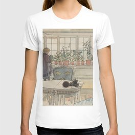 Carl Larsson - Flowers on the Windowsill (From a Home watercolor series) T-shirt