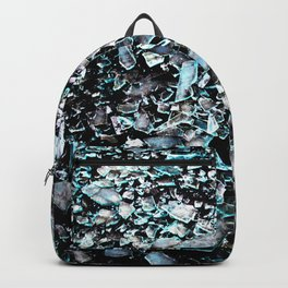 cyan black broken glas Backpack